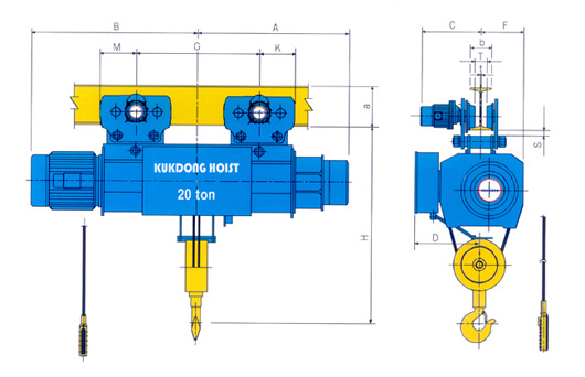 mono rail type hoist 7 5 20 t